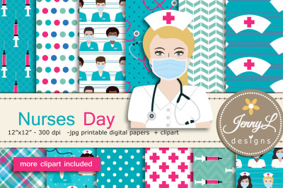Nurses Day Digital Papers & Stethoscope Clipart