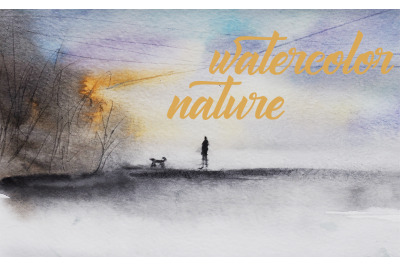watercolor nature and landscape with human and dog