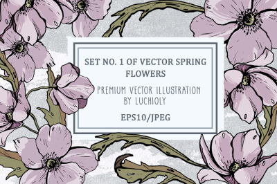 Set No. 1 of vector spring flowers
