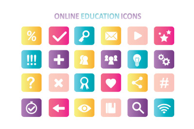Set of online education icons