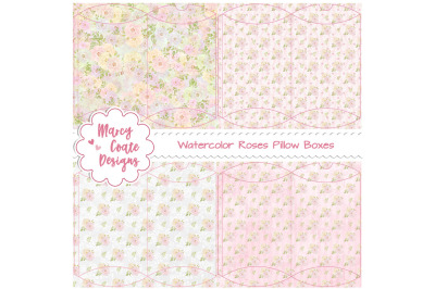Watercolor Roses Printable Pillow Boxes