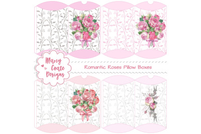 Romantic Roses Printable Pillow Boxes
