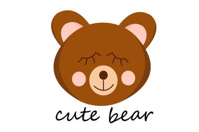 cute bear sleep flat vector