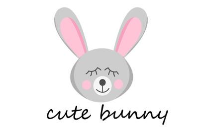 cute bunny sleep flat vector