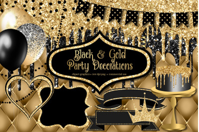 Black and Gold Party Decorations Clipart