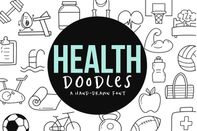 Health and Fitness Font Doodles