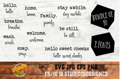 Farmhouse Words Bundle #2 - 10 Options - SVG PNG EPS