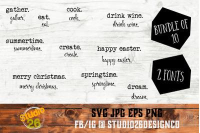 Farmhouse Words Bundle #4 - 10 Options - SVG PNG EPS