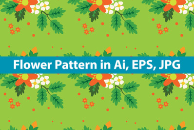 Green Background Flower Pattern
