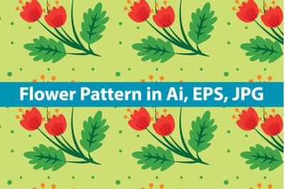 Flower Pattern Vintage Red Rose