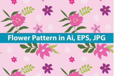 Flower Pattern Pink Background