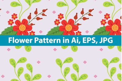 Red Flower Pattern with Soft Background