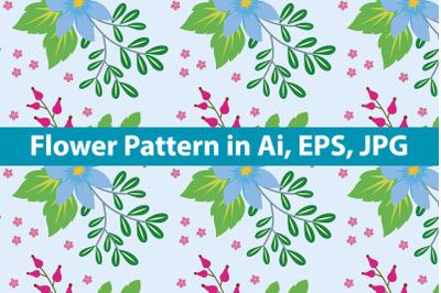 Blue Flower Pattern Background Art