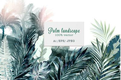 Tropical landscape vector illustration