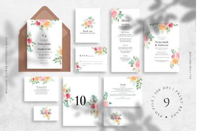 Bouquet  Flower Invitation Suite