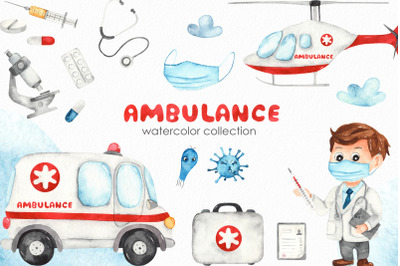 Watercolor Medical Clipart. Ambulance, helicopter, doctor boy, viruse