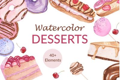 Watercolor Desserts Clipart Set