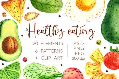 Aquarel hand drawn digital Healthy eating pack.