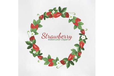 Strawberry Wreath Watercolor Clipart