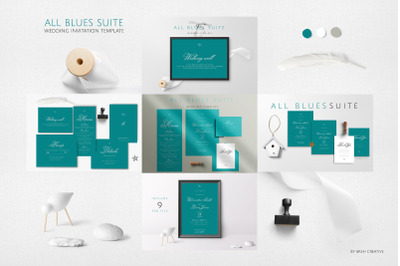 All Blues Suite Wedding Invitation