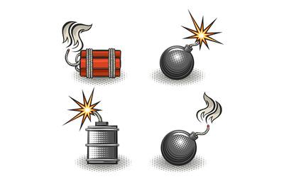 Cartoon Explosive Bomb Retro Emblem Set