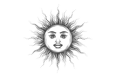 Esoteric Emblem of Sun Drawn in Vintage Engraving Style