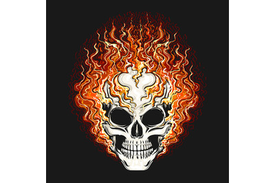 Skull in the Fire Flame on Black background