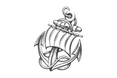 Anchor with Sail Tattoo in Engraving Style