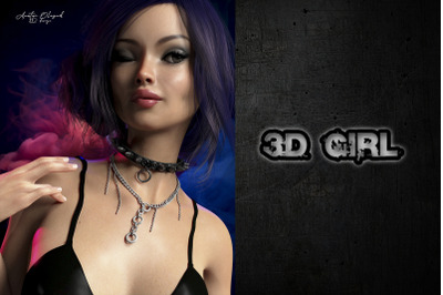 3D girl character and illustration