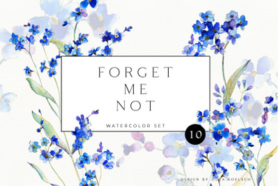 Forget-me-not  blue floral clipart. Watercolor blue flower for wedding