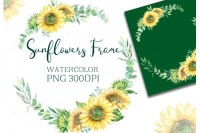Watercolor frame wreath of sunflowers eucalyptus