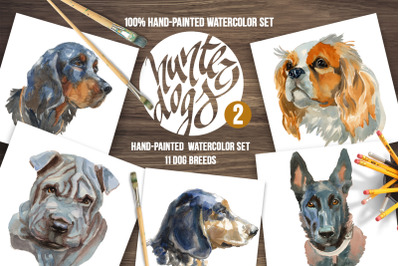 Hunter Dogs Watercolor Set 2