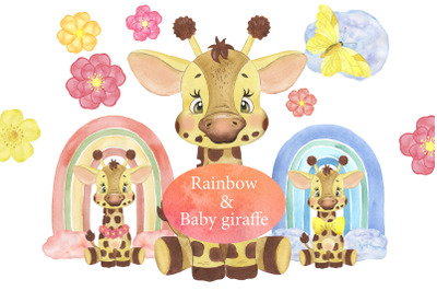 Watercolor little Giraffe clipart. Watercolor Rainbow Clipart.