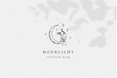 Premade Moon Brand Logo Design for Blog or Small Business, hand drawn.