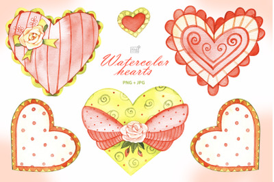 Watercolor hearts cliparts