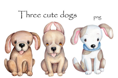 Three Cute Dogs. Watercolor illustrations.