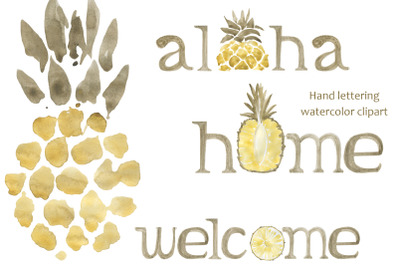 illustration of pineapple, aloha lettering, welcome