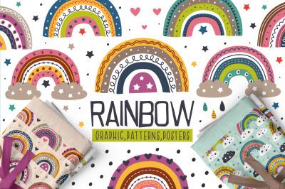 Rainbow set / Clipart & Patterns