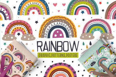 Rainbow set / Clipart & Patterns