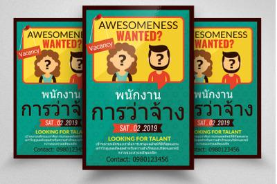 Job Vacancy Thailand Flyer Template