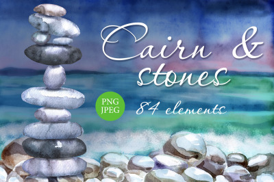 Watercolor cairns and stones