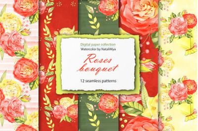 Watercolor roses digital paper pack