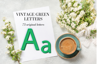 Green Retro Letters, Green Silver metal letters, Green sparkle digital alphabet