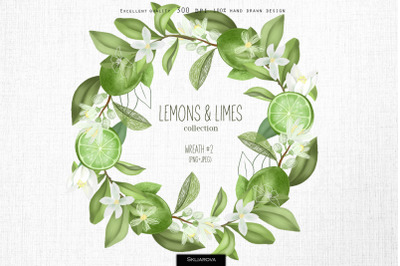 Lemons & limes. Wreath #2.