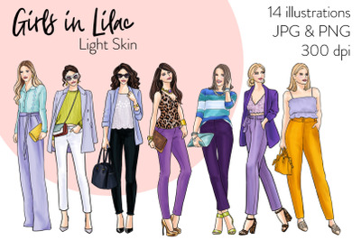 Watercolor Fashion Clipart - Girls in Lilac - Light skin