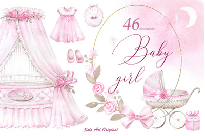 Newborn Baby Girl clipart set.