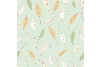 Pastel green,orange leaves seamless repeat pattern