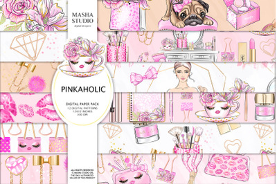 PINKAHOLIC digital papers