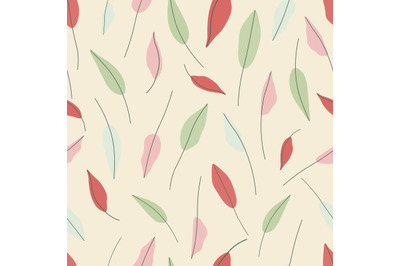 Red,green,pink and blue leaves seamless repeat pattern