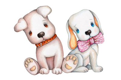 Two adorable dogs. Watercolor art.